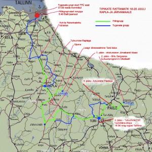 Tipikate rattamatka kaart Rapla- ja Järvamaal